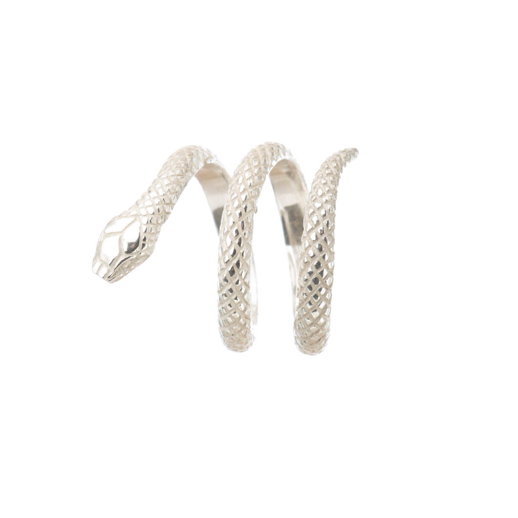 Louise Wade snake ring in sterling silver, handmade in London