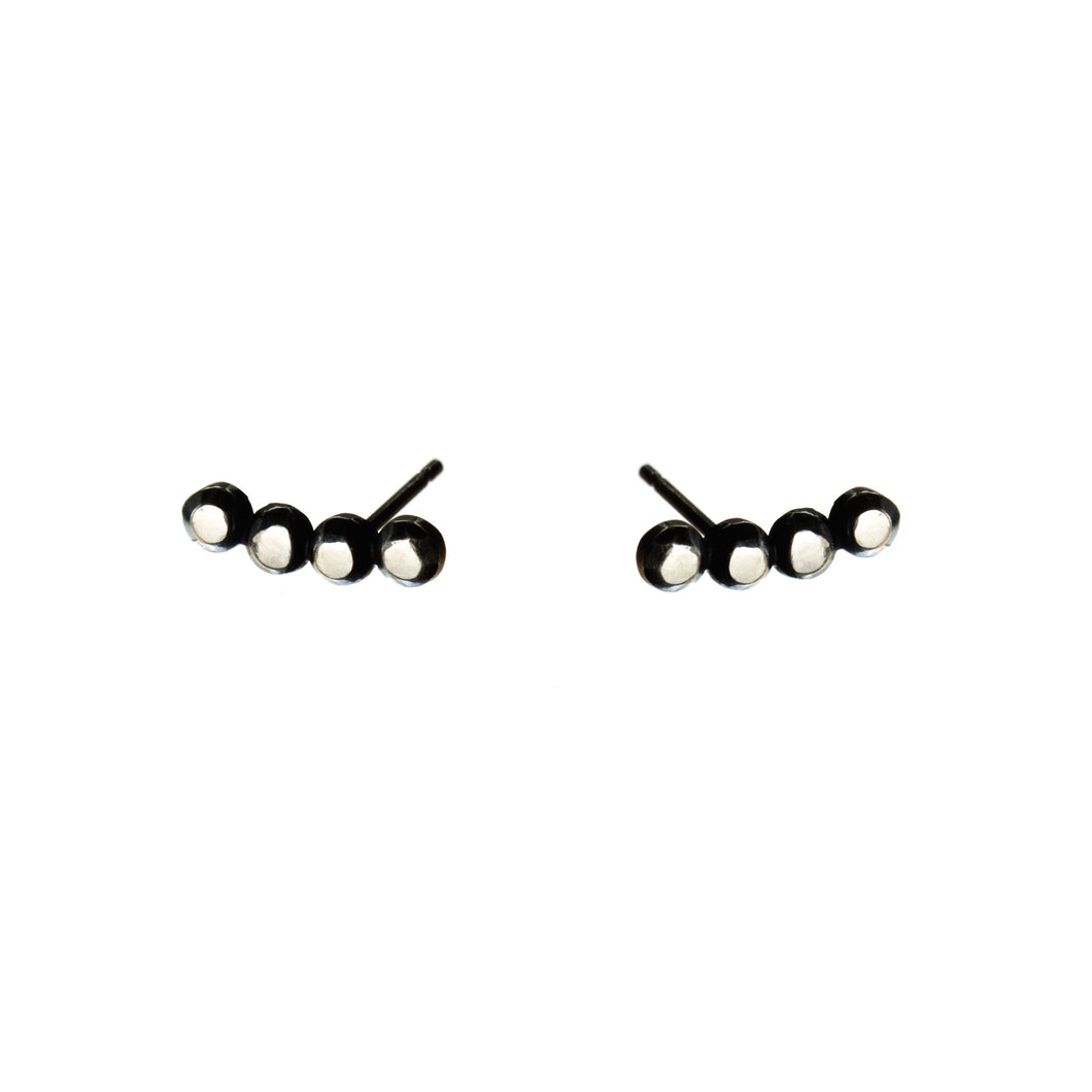 Louise Wade Vincent four Stud Earrings oxidised silver studs on leather