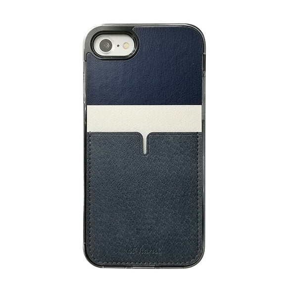 iPhone8 iPhone7 アイフォン8 アイフォン7 おしゃれ PU material Back Pocket Case, 1pocket Navy