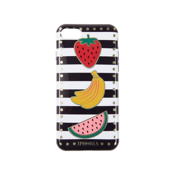 IPHORIA(アイフォリア) iPhone8/7 ケース Stripes Black and White with Fruits