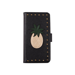 IPHORIA(アイフォリア) iPhoneXS/X ケース 手帳型ケース Black with Golden Pineapple and Studs