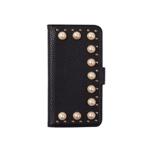 IPHORIA(アイフォリア) iPhoneXS/X ケース 手帳型ケース Black with Pearls and Studs