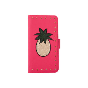 IPHORIA(アイフォリア) iPhoneXS/X 手帳型ケース Pink with Golden Pineapple and Studs
