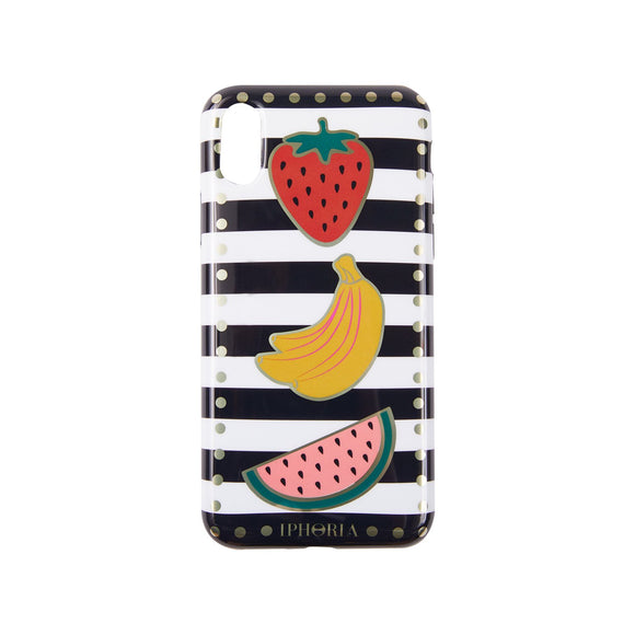 IPHORIA(アイフォリア) iPhoneXS/X ケース Stripes Black and White with Fruits