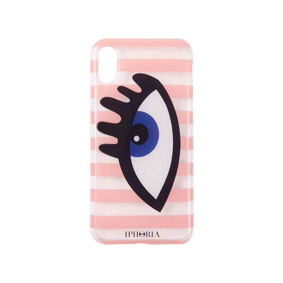IPHORIA(アイフォリア) iPhoneXS/X ケース Stripes Rose/Transparent Eye Blue