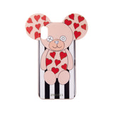 IPHORIA(アイフォリア) iPhoneXS/X ケース Teddt with Hearts Stripes Black and White(テディ ライン)