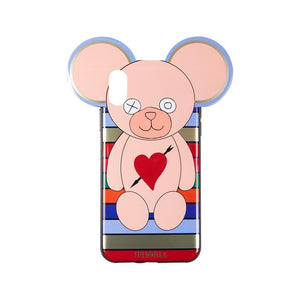IPHORIA(アイフォリア) iPhoneXS/X ケース Teddy with Heart and Arrow Multicolor Stripes(テディ ライン)