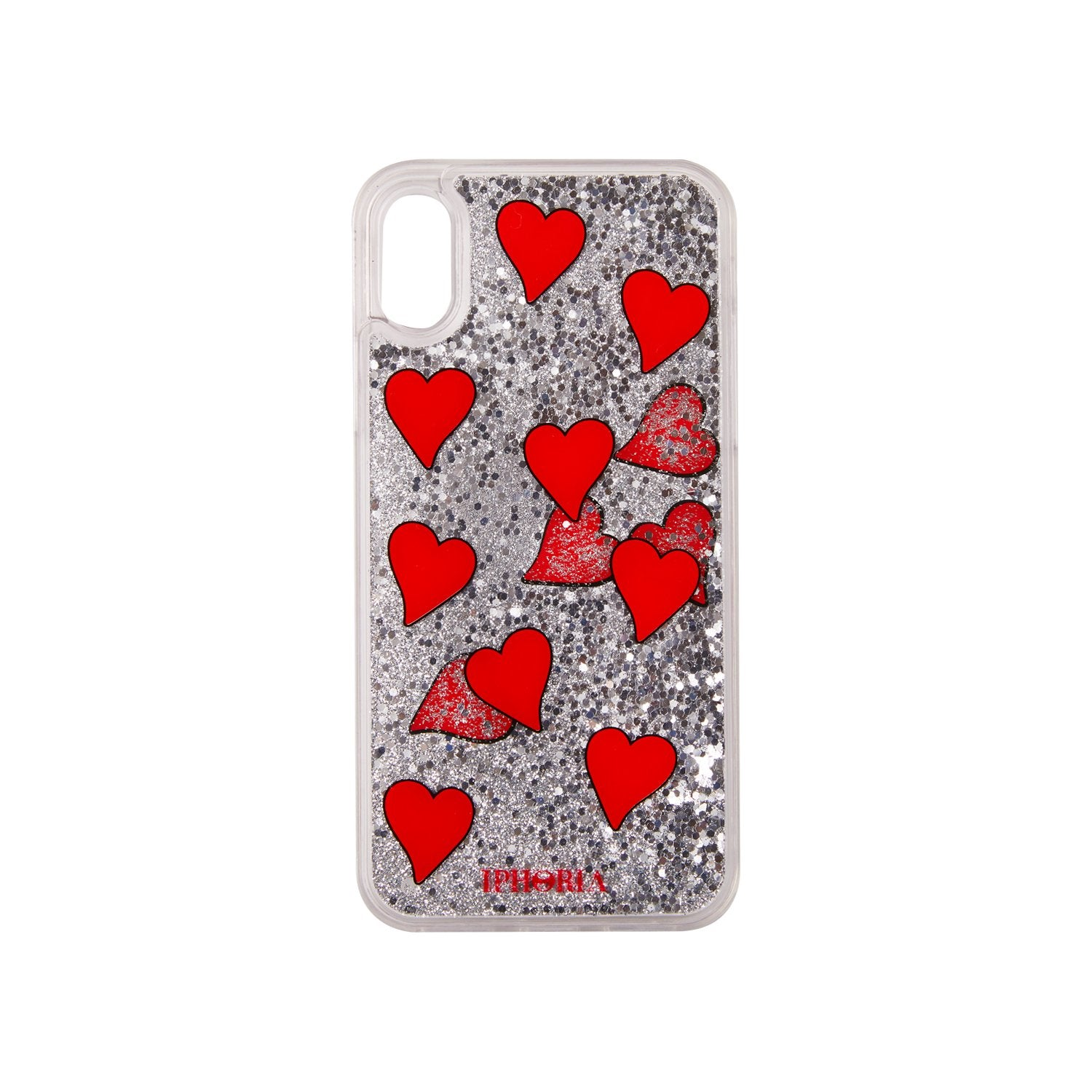 IPHORIA(アイフォリア) iPhoneXS/X ケース Transparent with Flooting Red Hearts(リキッド コレクション)の商品画像
