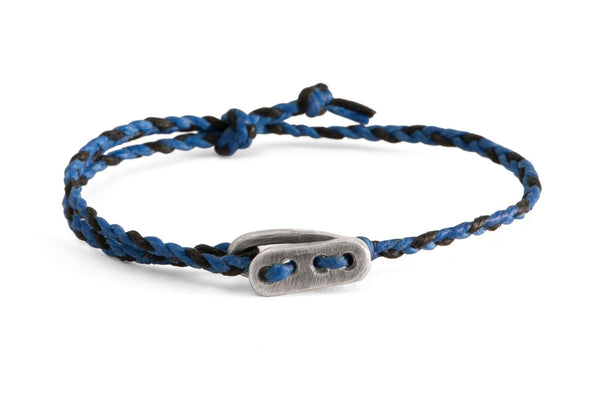 #55 - Men's bracelet Canvas Sterling Silver toggle blue black