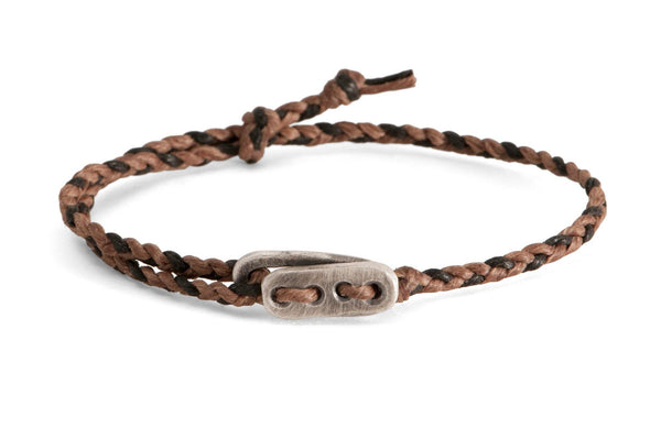 #58 - Men's bracelet Canvas Sterling Silver toggle brown black