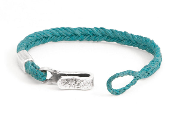 #60 - Men's bracelet Canvas Sterling Silver hook turquoise