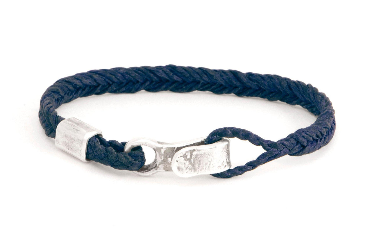 #62 - Men's bracelet Canvas Sterling Silver hook navy