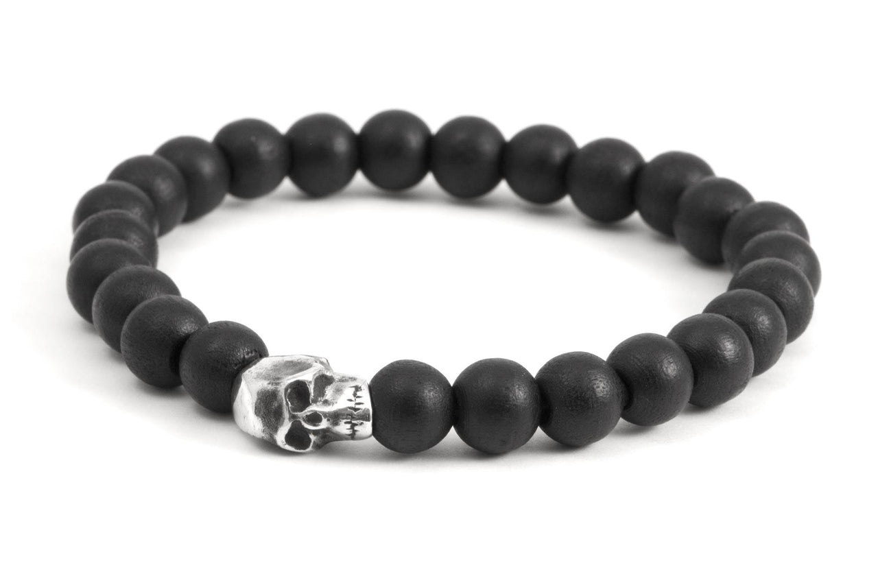 #70 - Men's beaded bracelet Sterling Silver Skull black