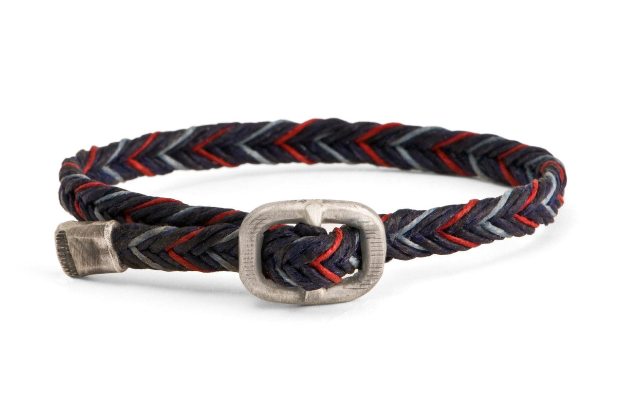 #67 - Men's bracelet Canvas Sterling Silver buckle navy red lightblue