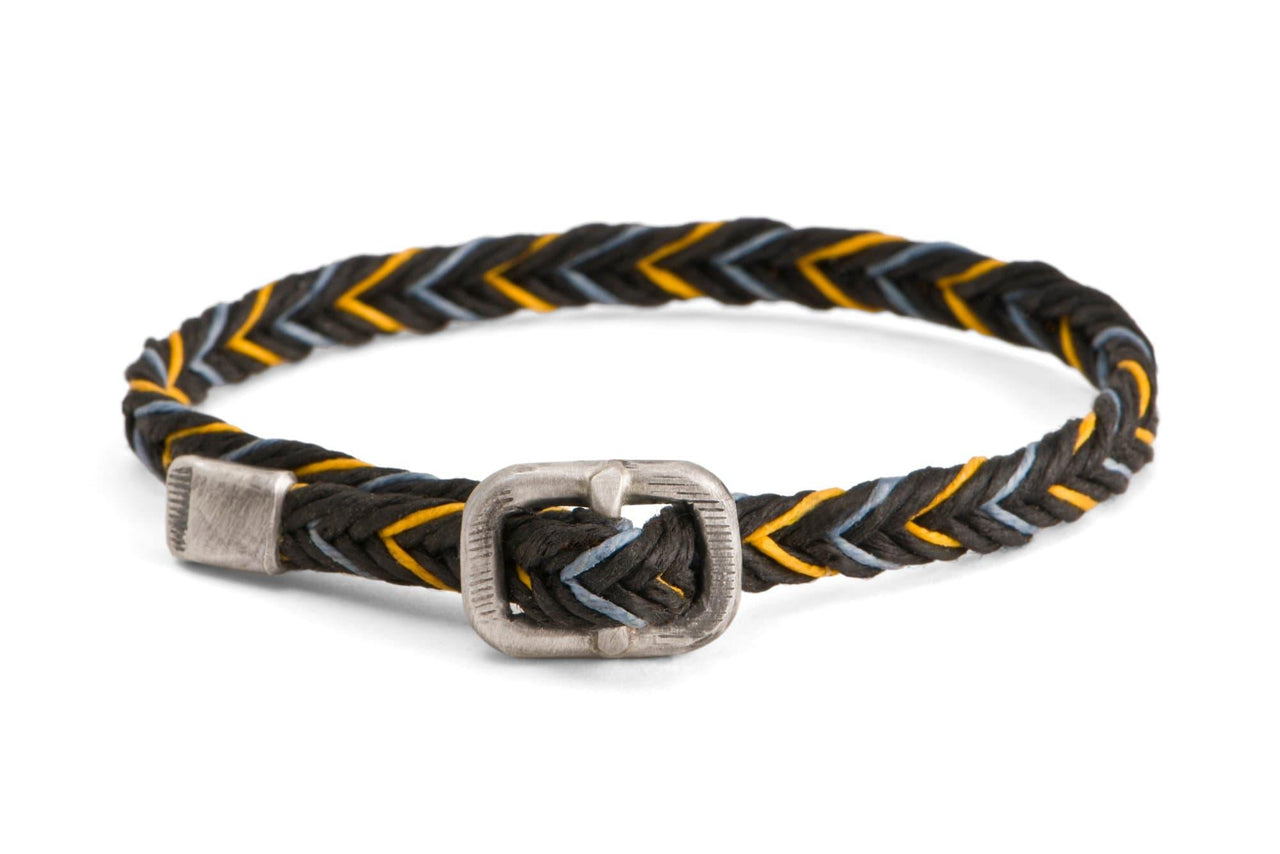 #65 - Men's bracelet Canvas Sterling Silver buckle black yellow gray