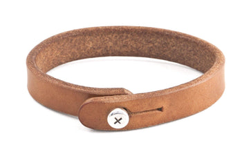 #180 - Men's bracelet saddle tan leather - 877 Workshop
