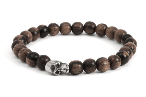 #71 - Men's beaded bracelet Sterling Silver Skull tigerwood