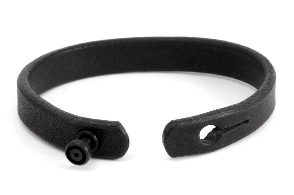 #129 - Men's bracelet black leather alu knob all black