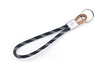 #124 - Keychain anchor sailing rope blue-white - 877 Workshop