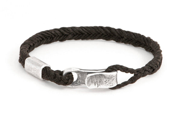 #64 - Men's bracelet Canvas Sterling Silver hook black