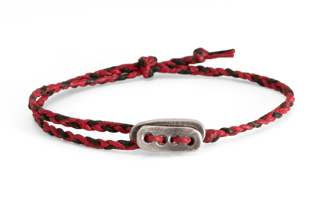#56 - Men's bracelet Canvas Sterling Silver toggle red black