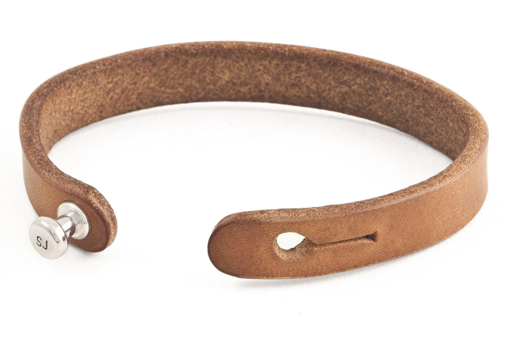#107 - Men's bracelet saddle tan leather alu knob