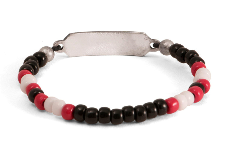 #165 - Men's beaded ID bracelet black red white - 877 Workshop