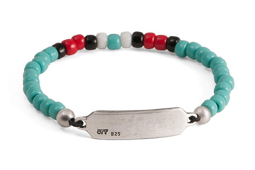 #160 - Men's beaded ID bracelet turquoise red white black - 877 Workshop