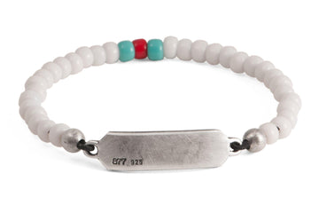 #164 - Men's beaded ID bracelet white red turquoise - 877 Workshop