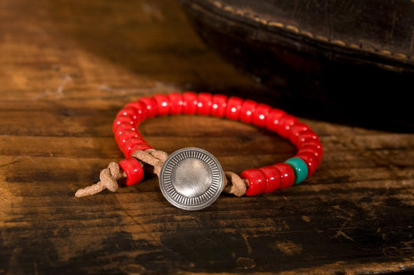 #140 - Men's Concho bracelet beads red