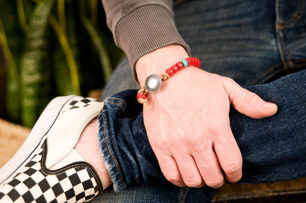 #141 - Men's Concho bracelet beads red