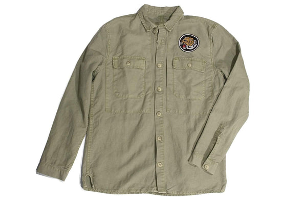 "#114 - Men's military shirt with embroidery ""So. Cal Surf Club"" – one of one"