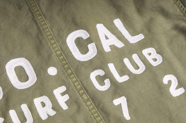 "#072 - Men's military shirt with embroidery ""So. Cal Surf Club"" – one of one"