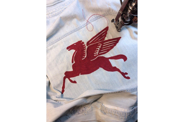 "#116 - Men's denim shirt with embroidery ""Pegasus"" – one of one"