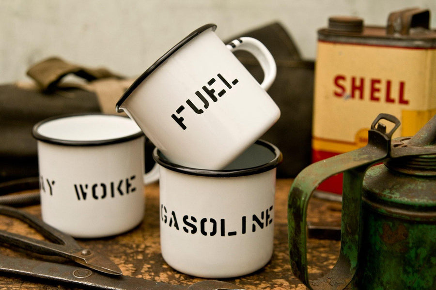 #089 - Enamel mug custom stencil lettering - 877 Workshop