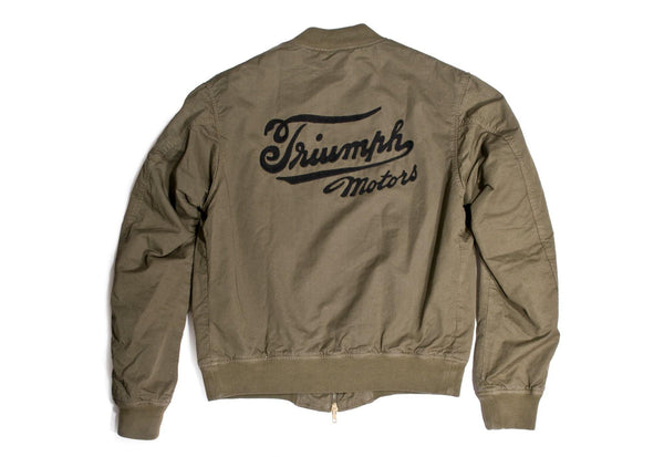 "#110 - Men's bomber jacket with embroidery ""Triumph Motors"" – one of one"
