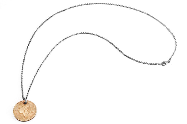 #063 - Necklace Vintage Coin - Franc