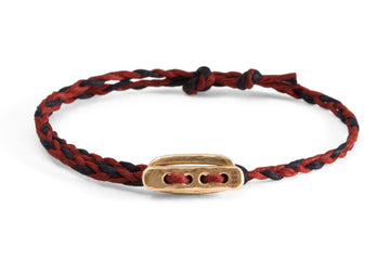 #138 - Men's bracelet Canvas Toggle red blue - GOLD - 877 Workshop