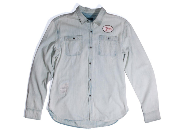 "#103 - Men's denim shirt with embroidery ""Pegasus"" – one of one"