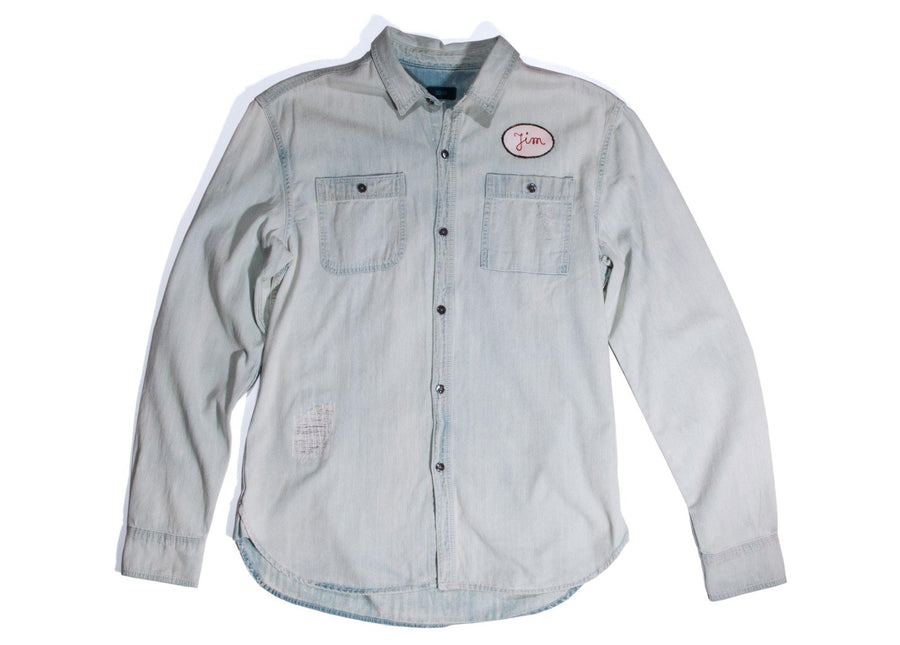 "#117 - Men's denim shirt with embroidery ""Pegasus"" – one of one - 877 Workshop"
