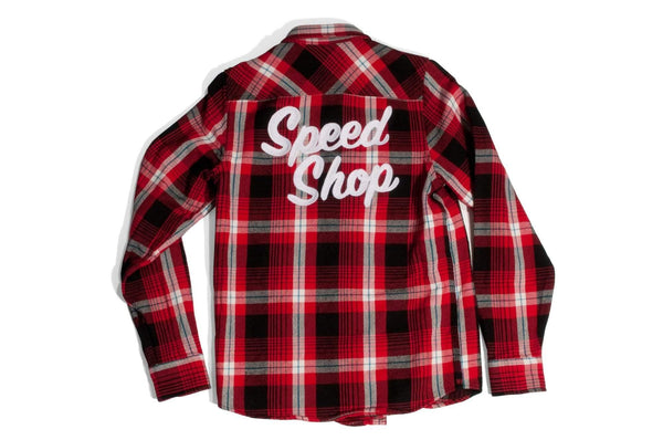 "#069 - Men's check shirt with embroidery ""Speed Shop"" – one of one"