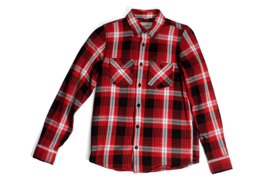 "#116 - Men's check shirt with embroidery ""Speed Shop"" – one of one - 877 Workshop"