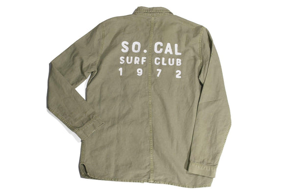 "#101 - Men's military shirt with embroidery ""So. Cal Surf Club"" – one of one"