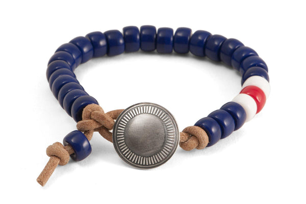 #141 - Men's Concho bracelet beads blue