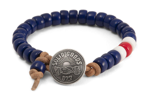 #148 - Men's Concho bracelet beads blue