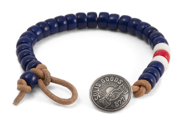 #132 - Men's Concho bracelet beads blue