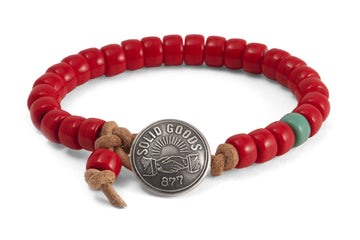 #152 - Men's bracelet beads red - 877 Workshop