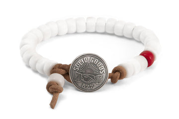 #154 - Men's bracelet beads white - 877 Workshop