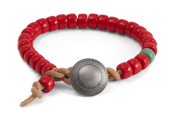 #147 - Men's Concho bracelet beads red