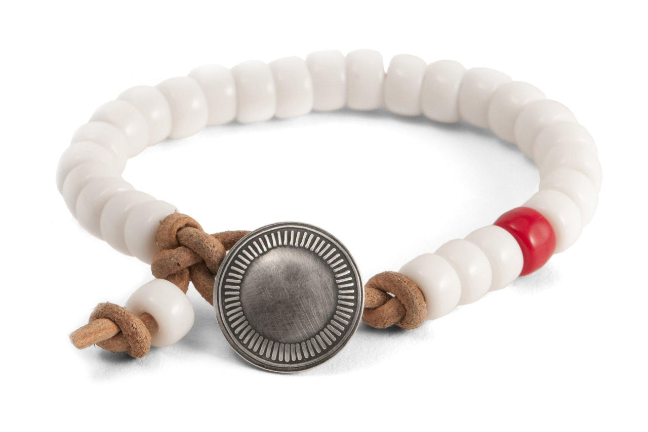 #142 - Men's Concho bracelet beads white